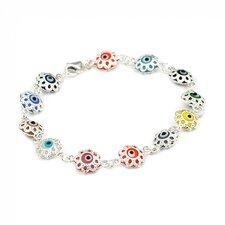 Flower Glass Eye Link Bracelet