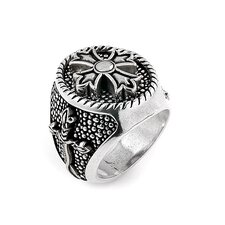 Twisted Blade Silver Round with Fleur De Lis Cross Center Ring