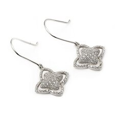 Flower Micro Pave Cubic Zirconia Drop Earrings