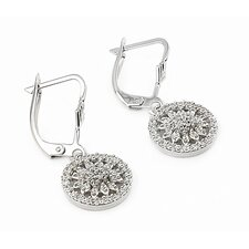 Flower Cut Out Cubic Zirconia Drop Earrings