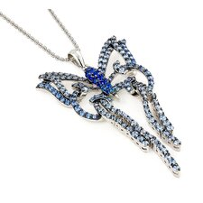 Ferroni Sterling Silver Swarovski Elements Zirconia Butterfly Necklace