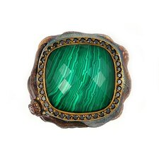 Signature Authentico Sterling Silver Malachite Square Faceted Demiquartz Doublet and Dignity Cubic Zirconia Ring