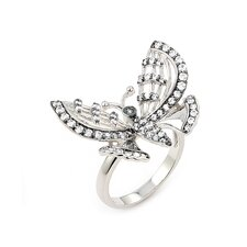 Ferroni Sterling Silver Swarovski Elements Zirconia Butterfly Ring