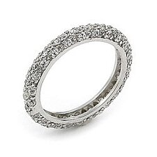 Wedding Sterling Silver Cubic Zirconia Thin Band