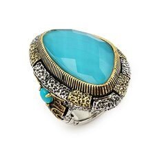 Signature Authentico Sterling Silver Turquoise Faceted and Dignity Cubic Zirconia Ring