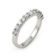 <strong>Plutus Partners</strong> Wedding Sterling Silver Cubic Zirconia Eternity Band