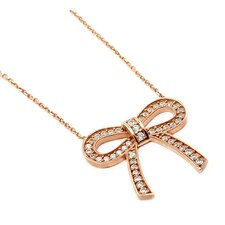 Sterling Silver Cubic Zirconia Bow Adjustable Necklace