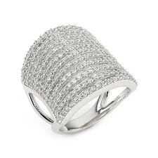 Pave Cubic Zirconia Multi Stripe Ring