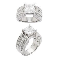 Sterling Silver Prong Set Cubic Zirconia Ring