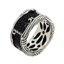 Hematite Sterling Silver and Stingray Leather Band