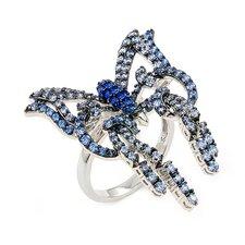 Ferroni Sterling Silver Swarovski Elements Zirconia Butterfly Ring