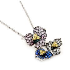 Ferroni Sterling Silver Swarovski Elements Zirconia Rose Necklace