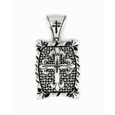 Twisted Blade Silver Rectangle Fleur De Lis Cross Pendant