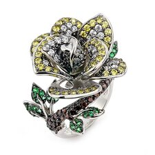Ferroni Sterling Silver Swarovski Elements Zirconia Rose Ring