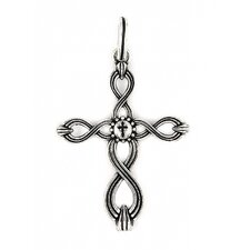 Twisted Blade Silver Woven Cross Pendant
