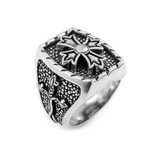 Twisted Blade Silver Rectangle with Fleur De Lis Cross Center Ring