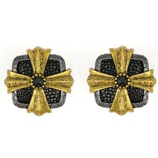 Hematite Stingray Leather Cross Design Cufflinks