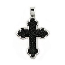Hematite Stingray Leather Fleur De Lis Cross Pendant