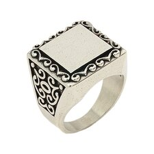 Twisted Blade Silver Square Engraved Intricate Swirl Pattern Ring