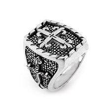 Twisted Blade Silver Rectangle with Thin Fleur De Lis Cross Ring