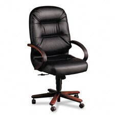 2190 Pillow-Soft Wood Series Executive High-Back Chair, MY/Black Leather