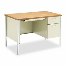 34000 Series Computer Desk with Single Right Metal Pedestal