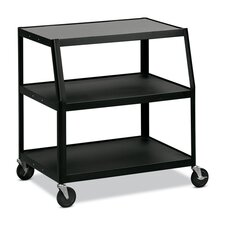 "Monitor TV Cart, 5"" Casters-2 Locking, Steel 38""x24""x41"", Black"