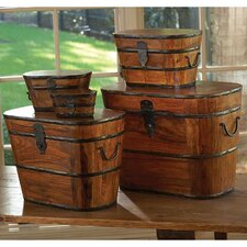 5 Piece Wood and Iron Boxes Set