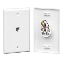 Single RJ-14 with Wiring Wall Plate