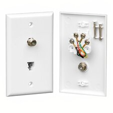 RJ-14 and F-81 Connector Wall Plate