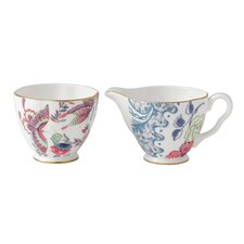 Harlequin Butterfly Bloom Ceramic Creamer and Sugar Bowl