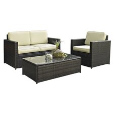 Grant 3 Piece Deep Seating Group in Brown with Cushions