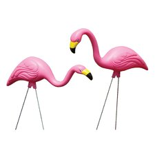 2 Piece Pink Flamingo Lawn Statue Set