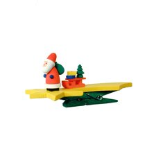 Santa with Sled on Star and Green Clip
