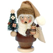 Natural Wood Finish Santa with Tree and Doll Incense Burner