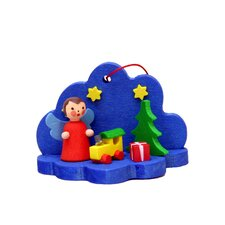 Angel and Tree in Blue Clouds Ornament