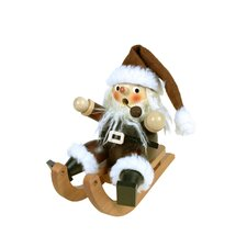 Natural Wood Finish Santa on Sled Incense Burner