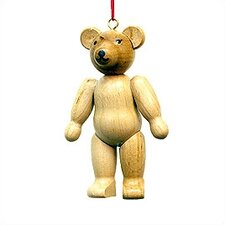 Natural Wood Finish Teddy Bear Ornament