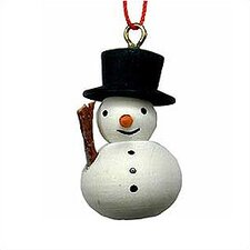 Painted Wooden Snowman Ornament