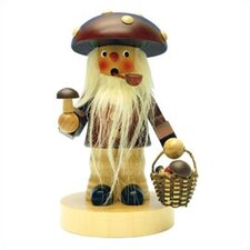 <strong>Christian Ulbricht</strong> Natural Wood Mushroom Man with Long Bread Incense Burner