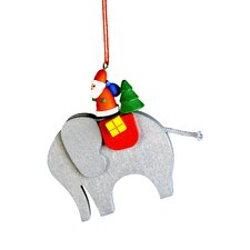 Santa on Elephant Ornament