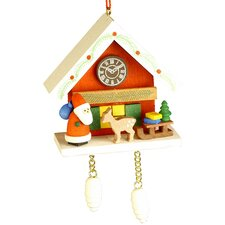 Santa with Deer Cuckoo Clock Ornament
