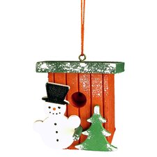 Birdhouse with Snowman Ornament