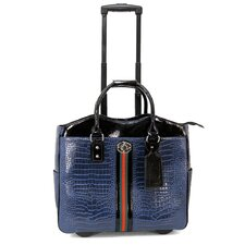 Croco Tape Leather Laptop Briefcase