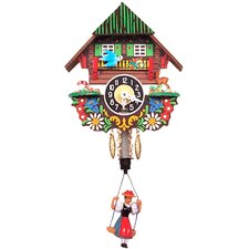 "Chalet Carved 5.5"" Clock with Swinging Girl"