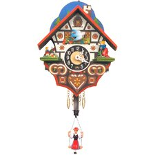 "6"" Chalet Carved Clock with Swinging Girl"
