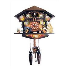 Chalet Clock with Beer Drinker and Water Wheel