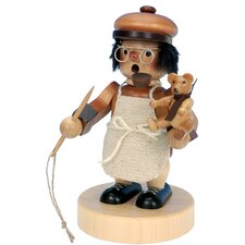 Seiffener Nussknackerhaus Teddy-Bear Maker Incense Burner in Natural