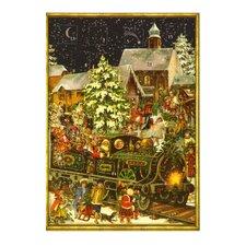 Santa in Train Advent Card