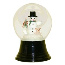 Snowglobe with Snowman Holding Teddy Bear Inside